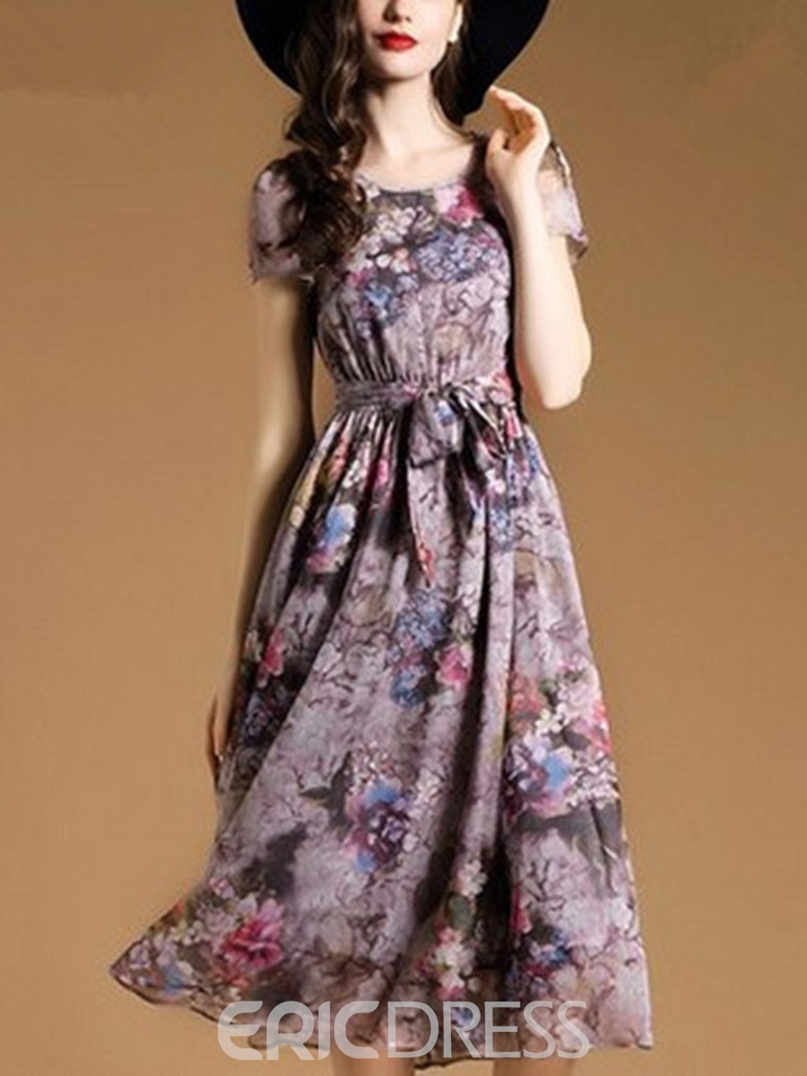 Ericdress Floral Print Pleated Lace-Up Maxi Dress