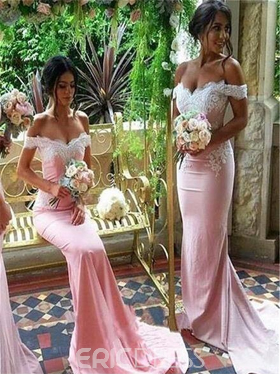 Button Off-The-Shoulder Long Sleeves Bridesmaid Dress 2019