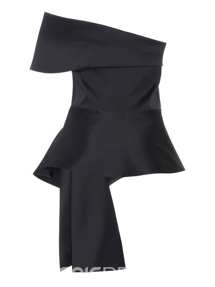 Ericdress Black Off Shoulder Bow Tie Stylish Blouse