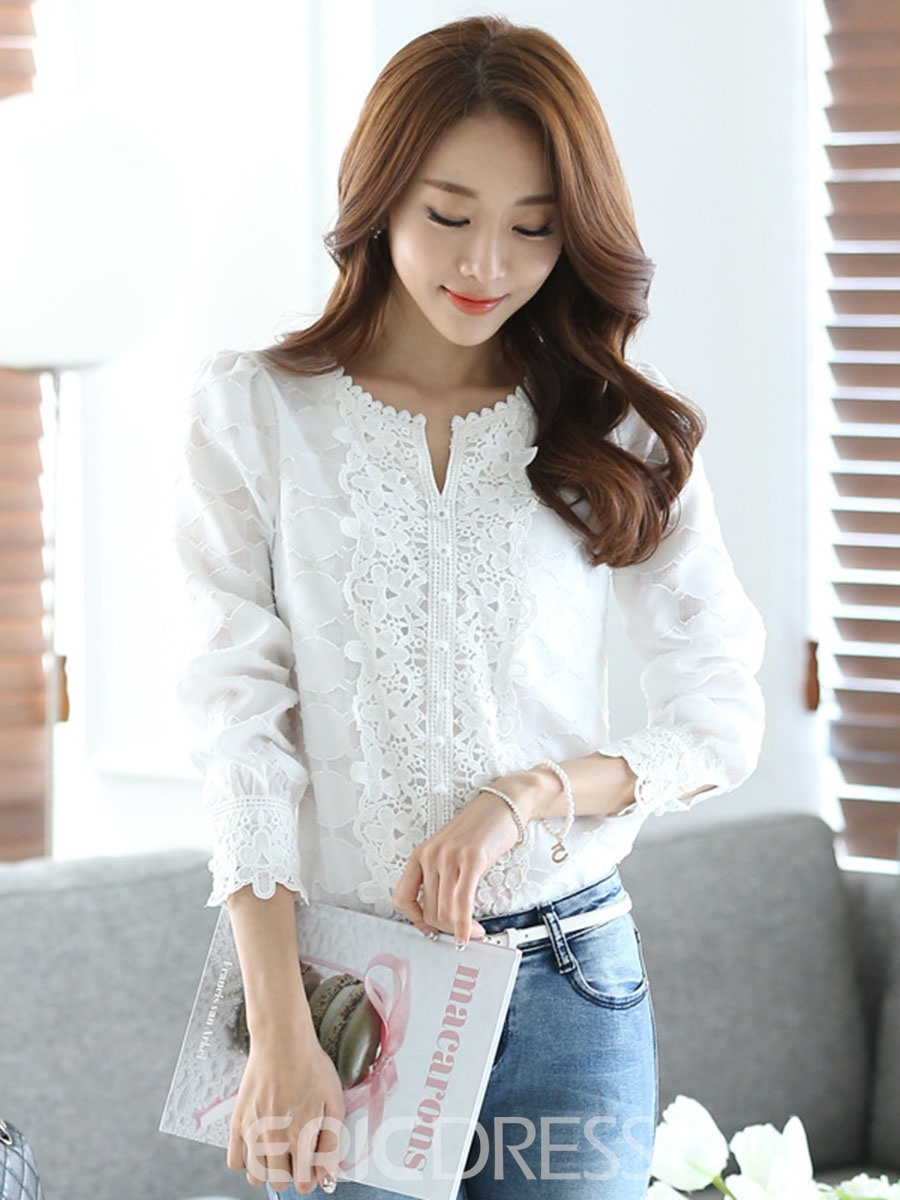 Ericdress Single-Breasted Plain Lace Blouse