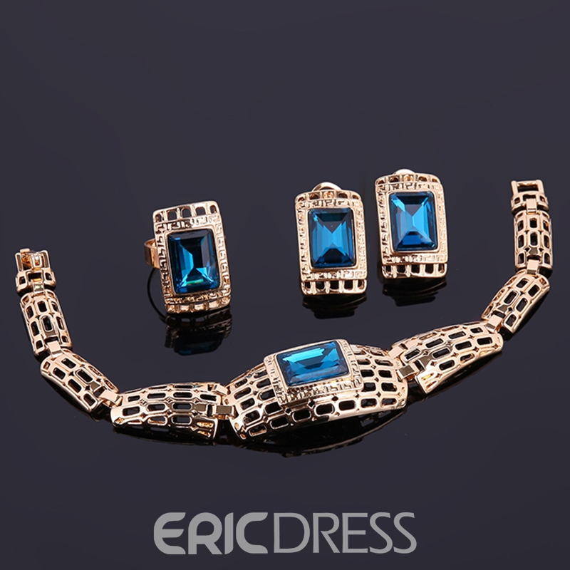 Ericdress Party Hollow Design Blue Gemstones Inlaid Jewelry Set