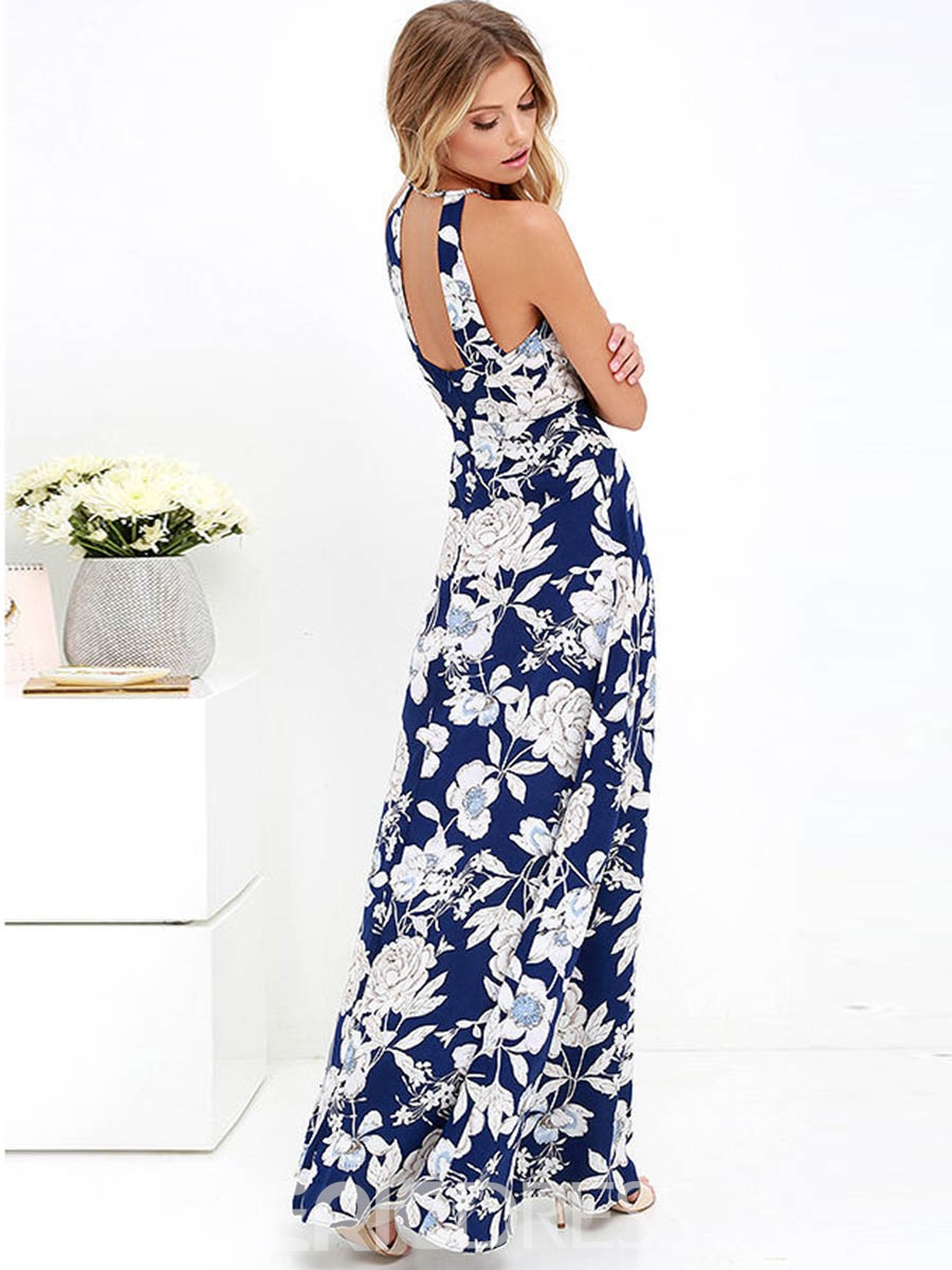 Ericdress Floral Print Backless Expansion Maxi Dress