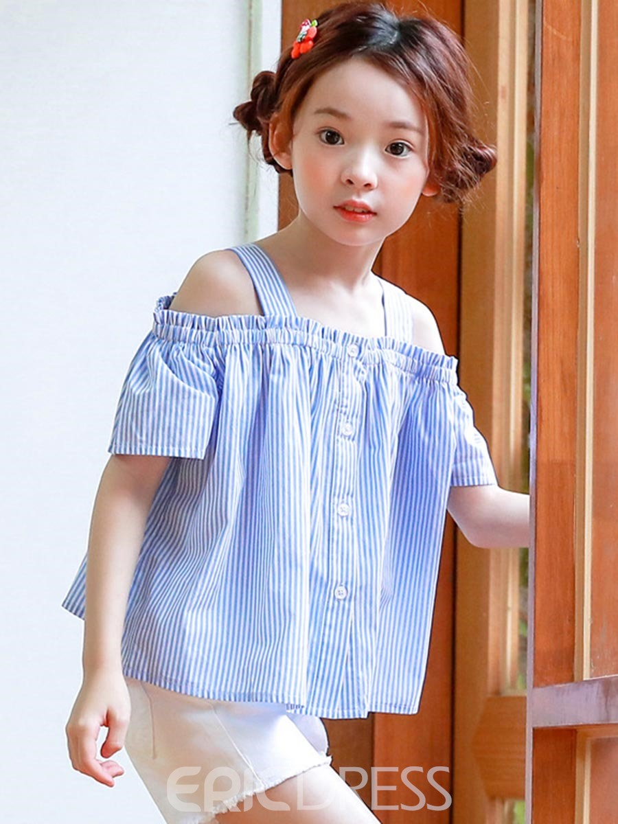 Ericdress Slash Neck Stripe Single-Breasted Girls Shirt