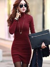 Ericdress Pretty Solid Color Turtleneck Sheath Dress