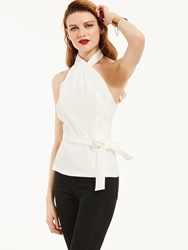 Ericdress Slim Sleeveless Backless Plain Lace-Up Blouse