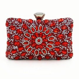 Ericdress Floral Rhinestone Magnetic Snap Evening Clutch