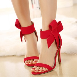 Ericdress Charming Suede Bowtie Open Toe Stiletto Sandals