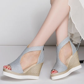 Ericdress Mesh Sequins Patchwork Peep Toe Wedge Sandals