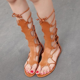 Ericdress Roman Cross Strap Lace up Flat Sandals