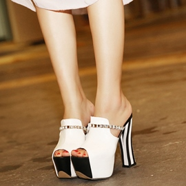 Ericdress Contrast Color Platform Peep Toe Mules Shoes