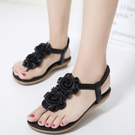 Ericdress Korean Flower Decorated Clip Toe Flat Sandals