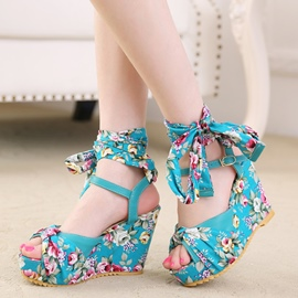 Ericdress Floral Print Lace Peep Toe Wedge Sandals