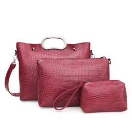 Ericdress Noble Solid Color Croco-Embossed Handbags(3 Bags)