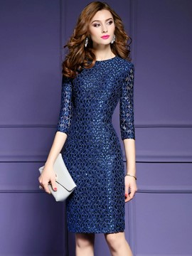 Ericdress Solid Color Three-Quarter Sleeve Patchwork Bodycon Dress