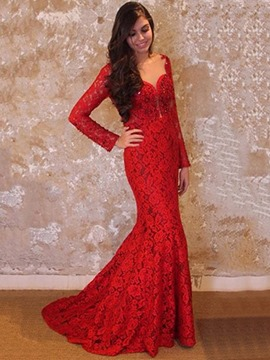 Ericdress Long Sleeve Lace Mermaid Evening Dress With Sweep Train