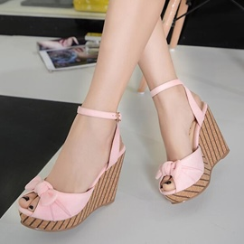 Ericdress Bright Color Bowtie Platform Wedge Sandals