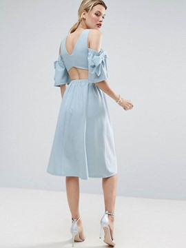 Ericdress Plain Off-The-Shoulder Back Hole A Line Dress