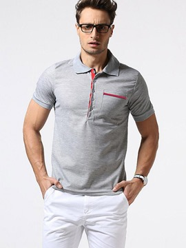 Ericdress Stripe Pocket Patched Polo Men's T-Shirt