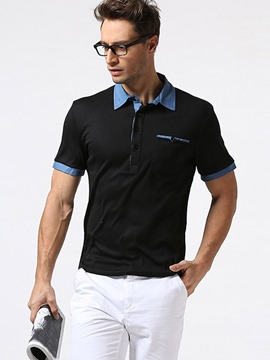 Ericdress Color Block Patched Collar Casual Men's Polo T-Shirt