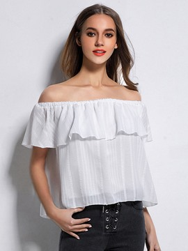 Ericdress Falbala Off-Shoulder Blouse