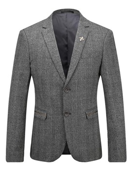 Ericdress Gray Single-Breasted Pocket Gentlemen's Blazer