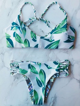 Ericdress Hand-Knit Rope Leaf Print Hollow Bikini Set