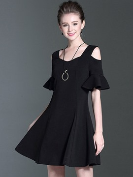 Ericdress Ruffle Sleeve Hollow V-Neck A Line Dress