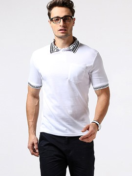 Ericdress Lapel Collar Print Short Sleeve Polo Men's T-Shirt