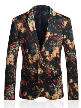Ericdress Lapel Flower Print Vogue Men's Blazer