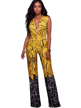 Ericdress Gold V-Neck Sleeveless Flower Print Women's Jumpsuits