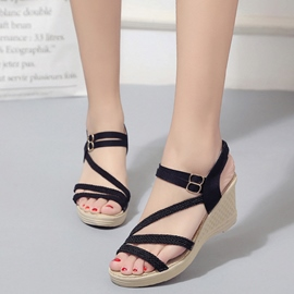 Ericdress Kintting Cross Strap Wedge Sandals