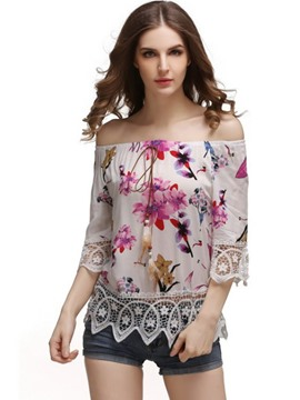 Ericdress Off-Shoulder Floral Print Blouse