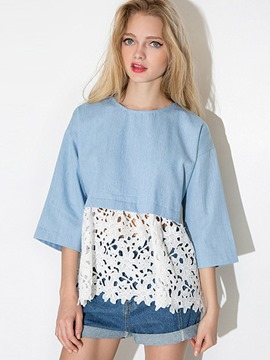 Ericdress Floral Crochet Patchwork Loose Blouse