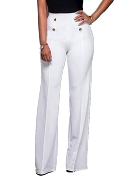 Ericdress Wide Leg Pure Color Women's Pants