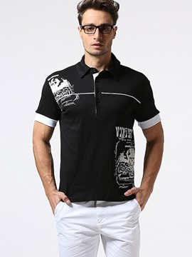 Ericdress Button Casual Print Polo Men's T-Shirt