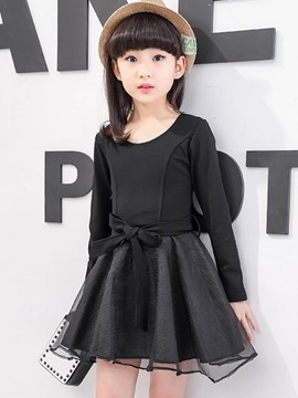 Ericdress Long Sleeve Spring Bow Plain Girls Dress