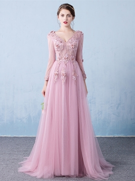 Ericdress Vintage Long Sleeve Applique Long Evening Dress