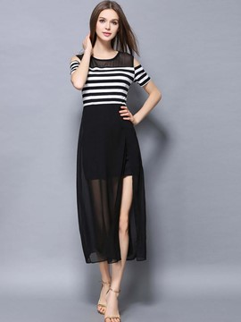 Ericdress Stripe Color Block High-Waist Chiffon Maxi Dress