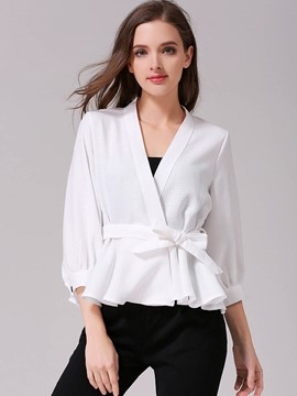 Ericdress V-Neck Bow TIe Three-Quarter Blouse