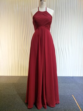 Ericdress Pleats Halter A-Line Floor-Length Bridesmaid Dress 2019