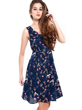 Ericdress Back Cross Spaghetti Strap Casual Dress