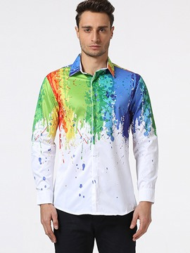 Ericdress Color Block Painted Print Casual Men's Shirt