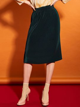 Falbala Patchwork Plain Pleated Skirt