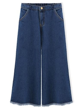 Ericdress High-Waist Ankle Length Wide Legs Jeans