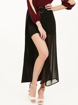 High-Waist Mid-Calf Plain Asymmetrical Skirt