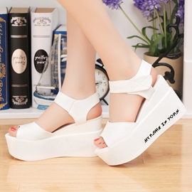 Ericdress Roman PU Peep Toe Wedge Sandals