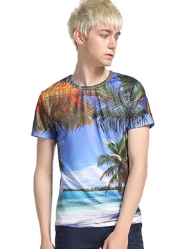Ericdress 3D Beach Pattern Print Casual Men's T-Shirt