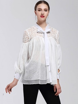 Ericdress Bow Tie Lace Crochet Pleated Blouse