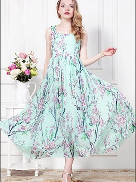 Ericdress Spaghetti Strap Floral Print Pleated Maxi Dress