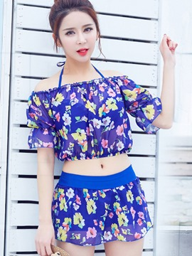 Ericdress Korean Chiffon Floral Tankini Set